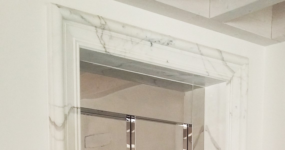 Lift Door Calacatta Oro Moulded